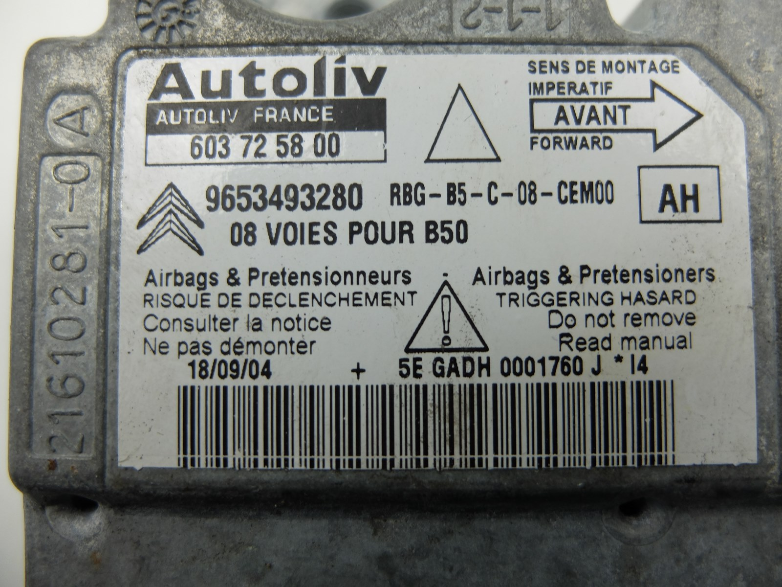 Calculateur AIRBAG AUTOLIV PEUGEOT CITROEN 603 20 10 00 603201000 9653441880